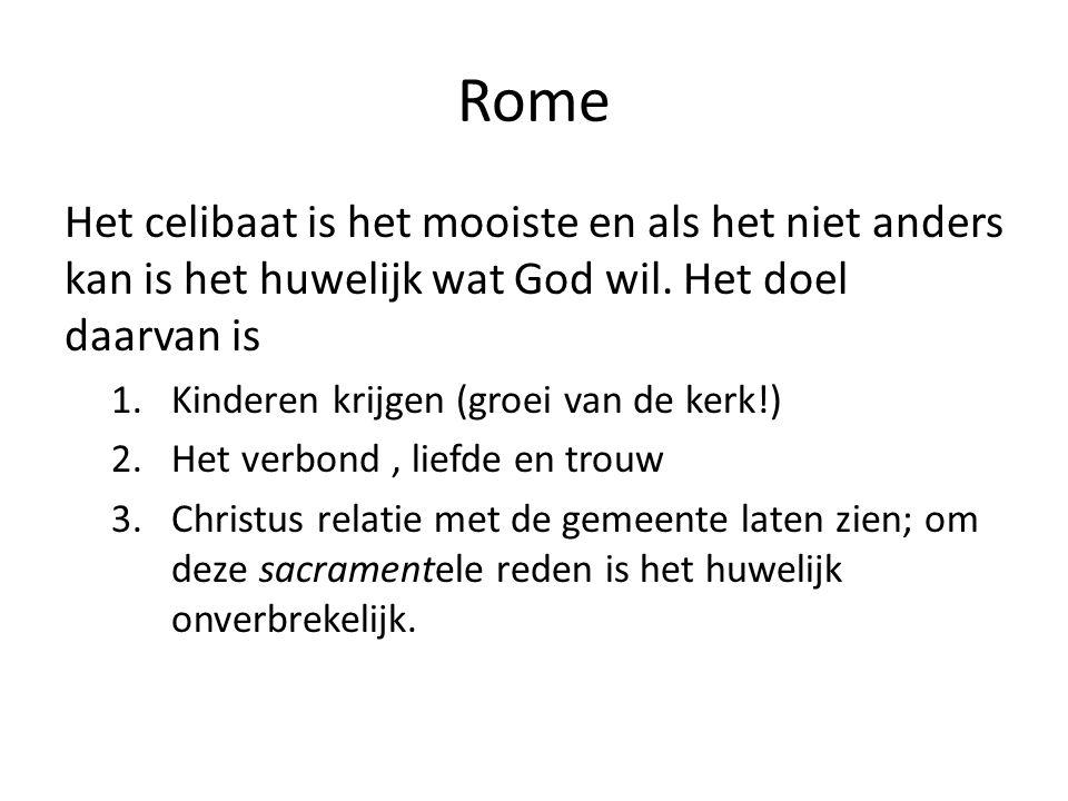 Rome Het celibaat is het mooiste en als het niet anders kan is het huwelijk wat God wil.