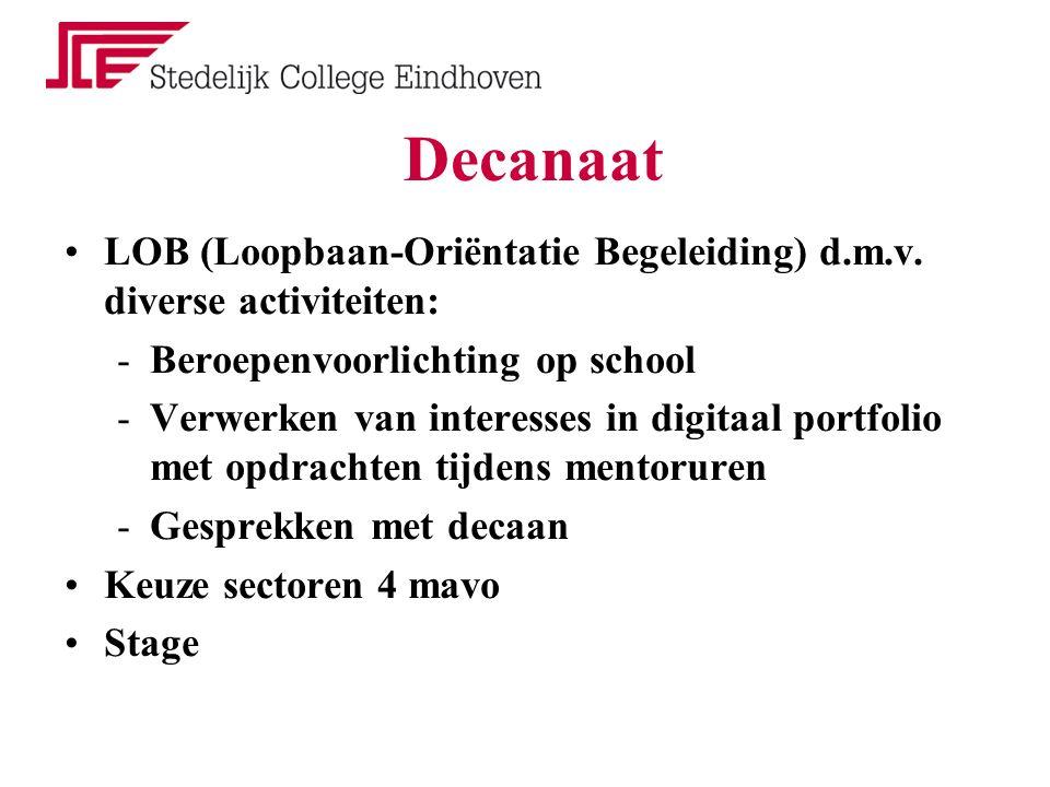 Decanaat LOB (Loopbaan-Oriëntatie Begeleiding) d.m.v. diverse activiteiten: -Beroepenvoorlichting op school -Verwerken van interesses in digitaal port