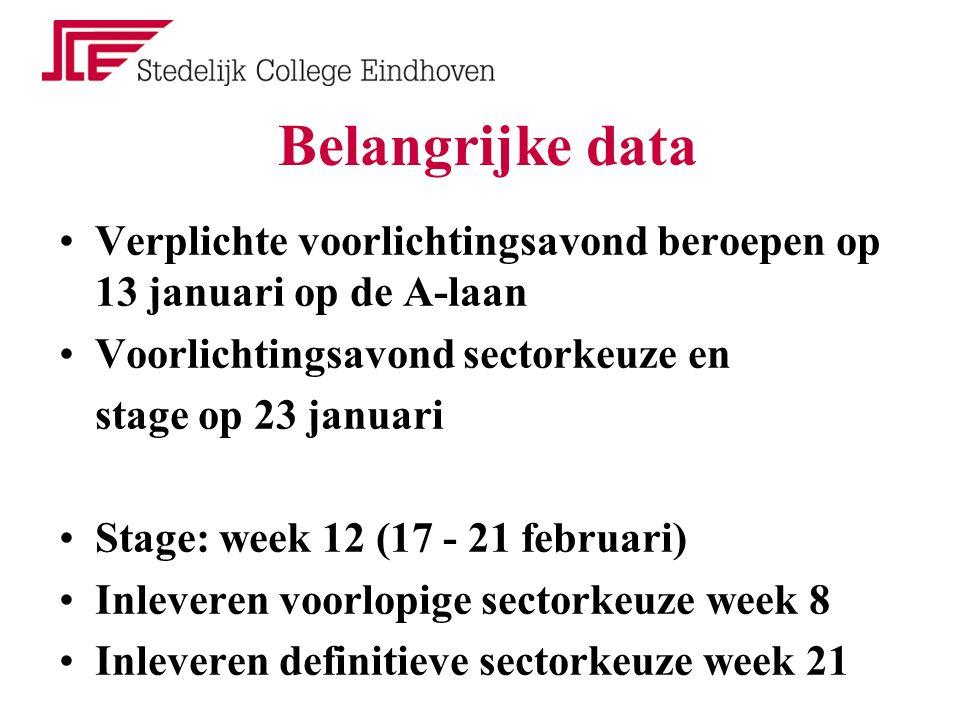 Belangrijke data Verplichte voorlichtingsavond beroepen op 13 januari op de A-laan Voorlichtingsavond sectorkeuze en stage op 23 januari Stage: week 1
