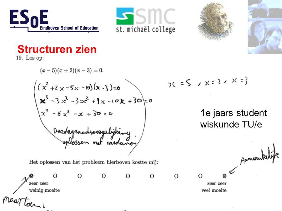 Structuren zien Bokhove, Van Stiphout, Bruin-Muurling 1e jaars student wiskunde TU/e