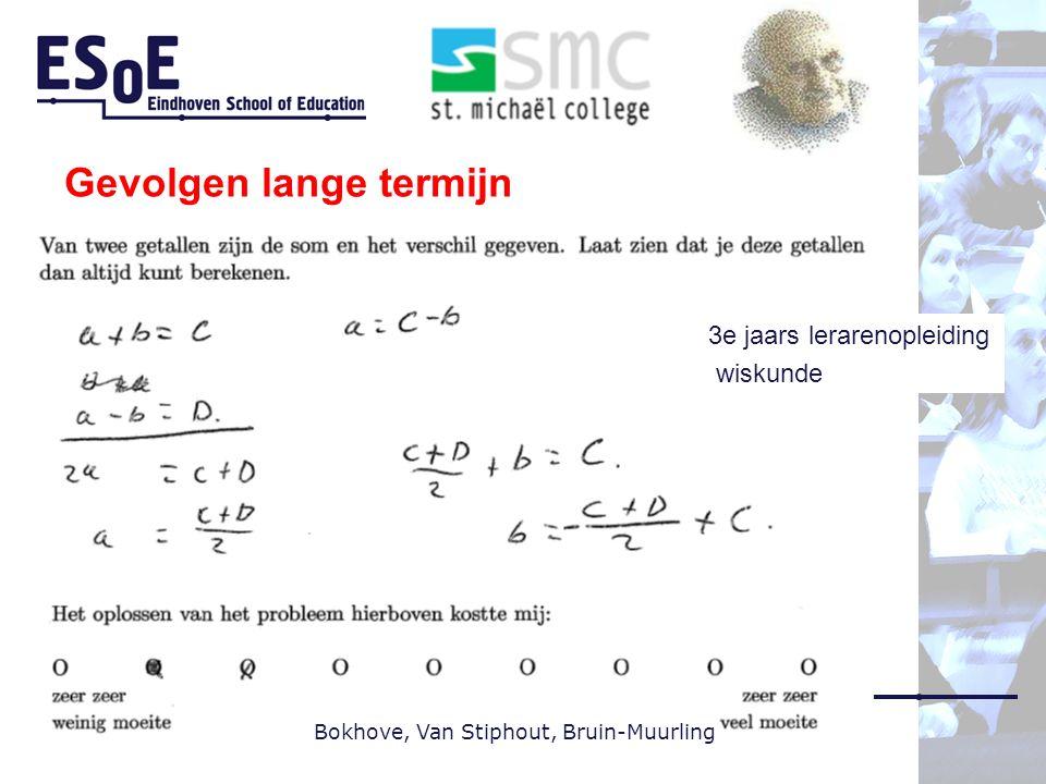 Gevolgen lange termijn Bokhove, Van Stiphout, Bruin-Muurling 3e jaars lerarenopleiding wiskunde