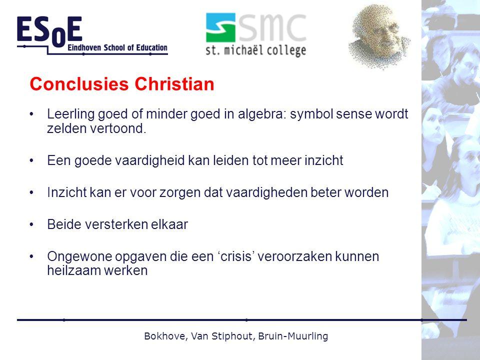 Bokhove, Van Stiphout, Bruin-Muurling Conclusies Christian Leerling goed of minder goed in algebra: symbol sense wordt zelden vertoond.