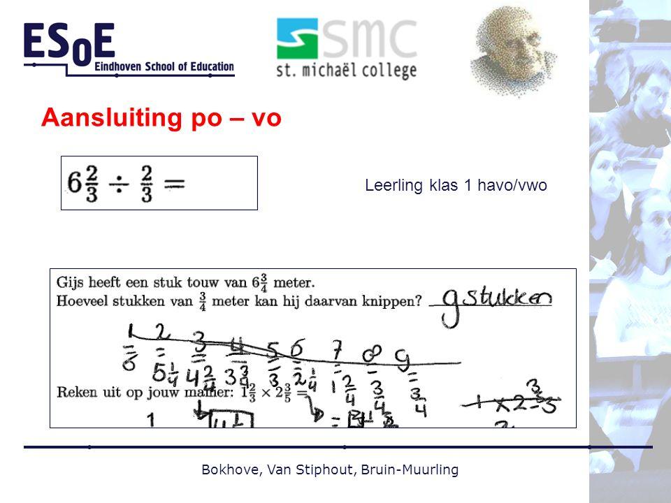 Aansluiting po – vo Leerling klas 1 havo/vwo Bokhove, Van Stiphout, Bruin-Muurling