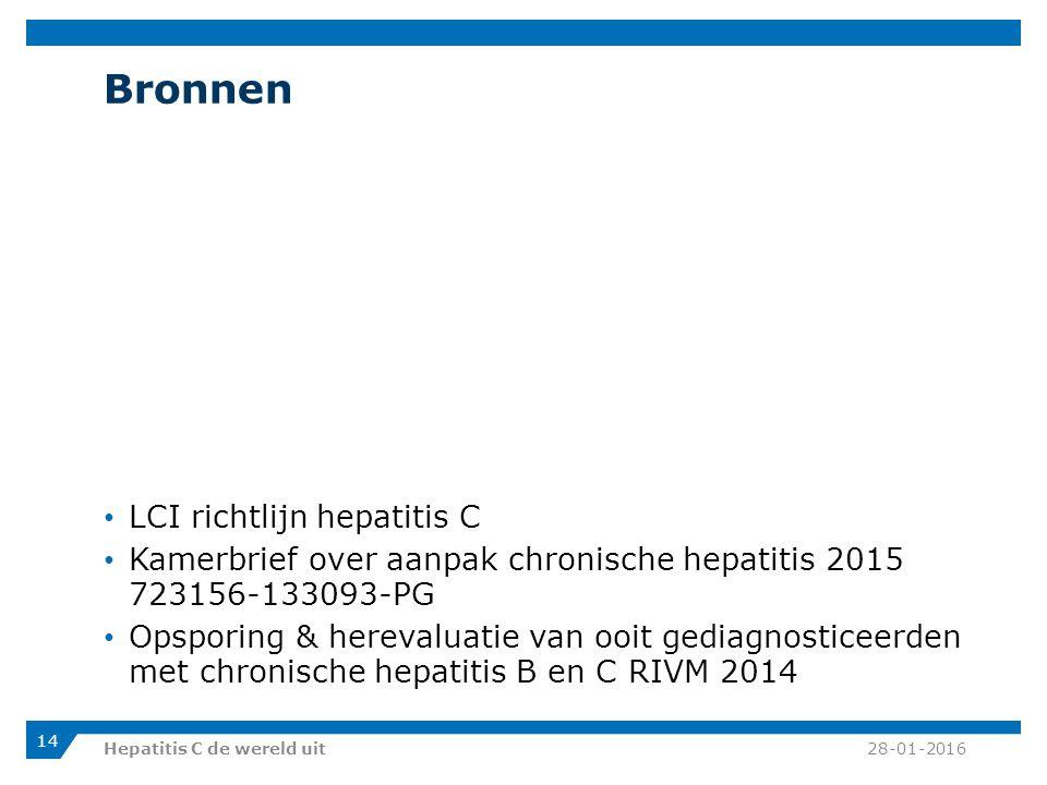 Bronnen LCI richtlijn hepatitis C Kamerbrief over aanpak chronische hepatitis 2015 723156-133093-PG Opsporing & herevaluatie van ooit gediagnosticeerden met chronische hepatitis B en C RIVM 2014 28-01-2016Hepatitis C de wereld uit 14