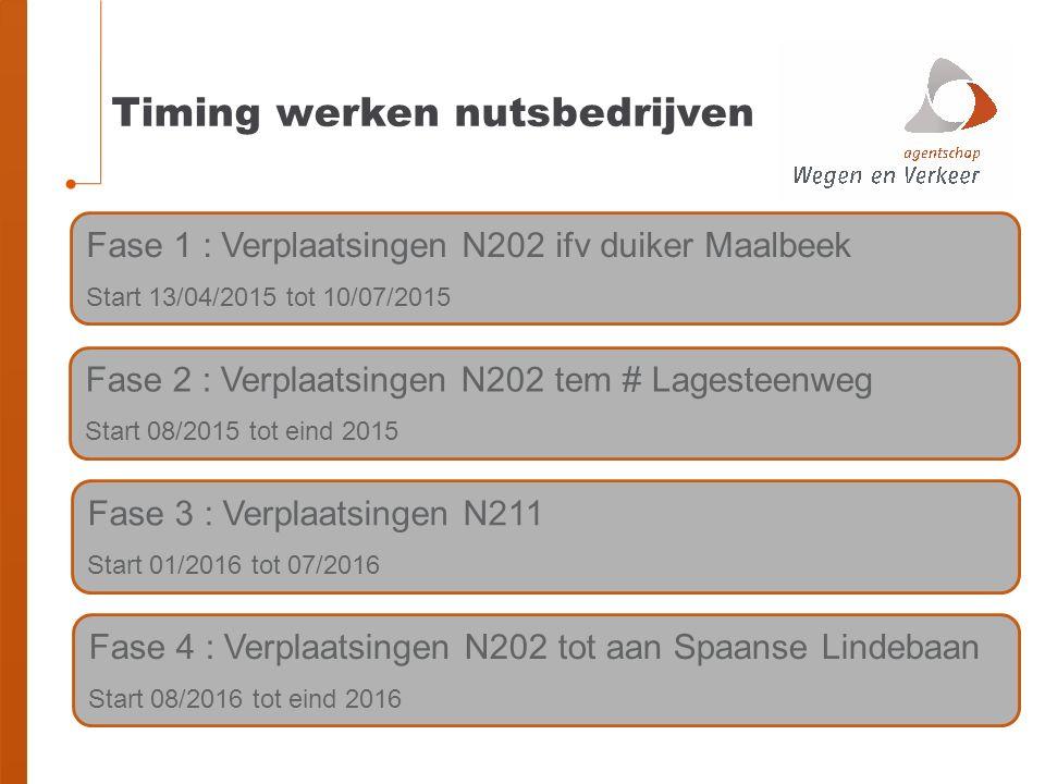Timing werken nutsbedrijven Fase 2 : Verplaatsingen N202 tem # Lagesteenweg Start 08/2015 tot eind 2015 Fase 3 : Verplaatsingen N211 Start 01/2016 tot 07/2016 Fase 1 : Verplaatsingen N202 ifv duiker Maalbeek Start 13/04/2015 tot 10/07/2015 Fase 4 : Verplaatsingen N202 tot aan Spaanse Lindebaan Start 08/2016 tot eind 2016