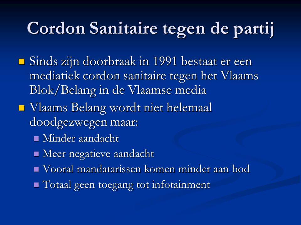 Cordon Sanitaire tegen de partij Sinds zijn doorbraak in 1991 bestaat er een mediatiek cordon sanitaire tegen het Vlaams Blok/Belang in de Vlaamse med