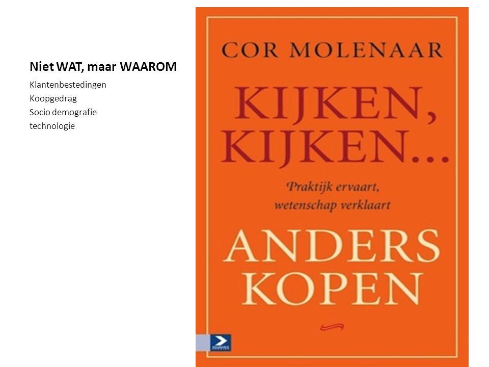 Niet WAT, maar WAAROM Klantenbestedingen Koopgedrag Socio demografie technologie cor@cormolenaar.nl