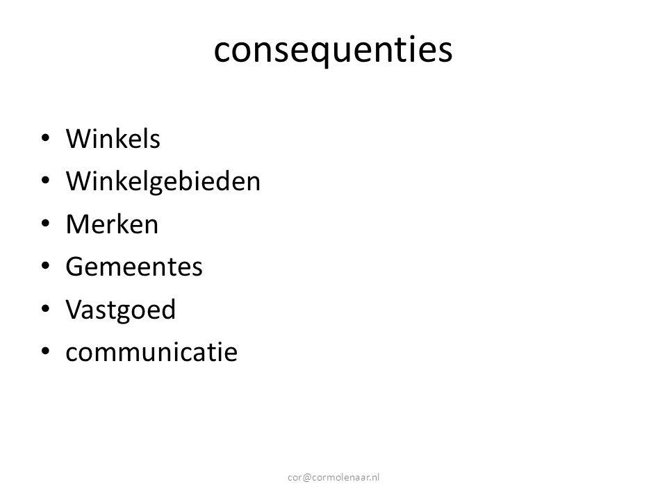 consequenties Winkels Winkelgebieden Merken Gemeentes Vastgoed communicatie cor@cormolenaar.nl