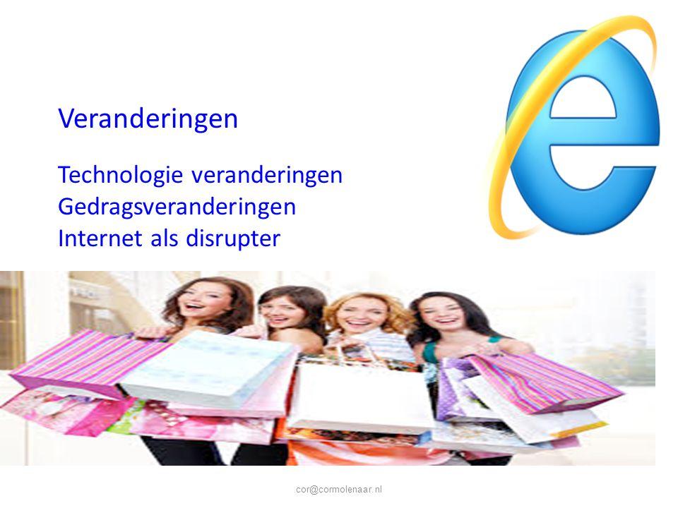 cor@cormolenaar.nl Veranderingen Technologie veranderingen Gedragsveranderingen Internet als disrupter