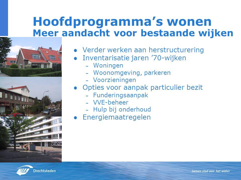 Hoofdprogramma's wonen Meer aandacht voor bestaande wijken Verder werken aan herstructurering Inventarisatie jaren '70-wijken – Woningen – Woonomgevin