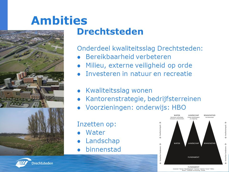 Ambities Drechtsteden Onderdeel kwaliteitsslag Drechtsteden: Bereikbaarheid verbeteren Milieu, externe veiligheid op orde Investeren in natuur en recr