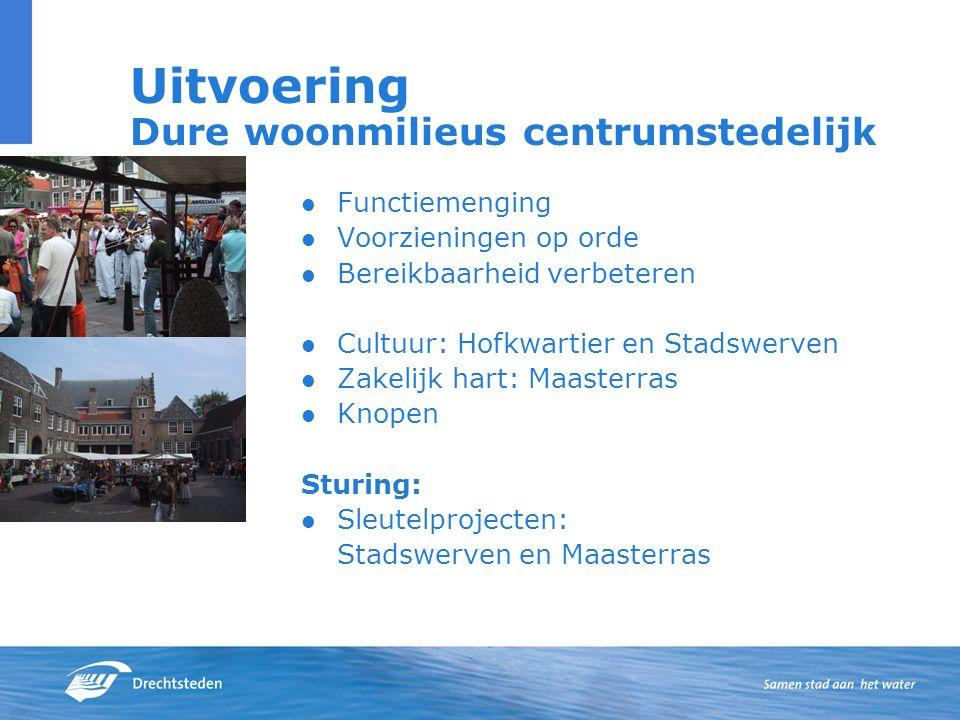 Uitvoering Dure woonmilieus centrumstedelijk Functiemenging Voorzieningen op orde Bereikbaarheid verbeteren Cultuur: Hofkwartier en Stadswerven Zakeli