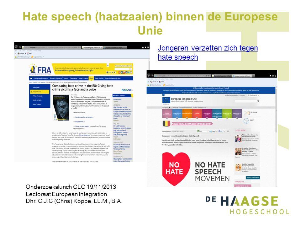 Hate speech (haatzaaien) binnen de Europese Unie Jongeren verzetten zich tegen hate speech Onderzoekslunch CLO 19/11/2013 Lectoraat European Integrati