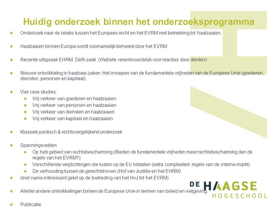 Huidig onderzoek binnen het onderzoeksprogramma Onderzoek naar de relatie tussen het Europees recht en het EVRM met betrekking tot haatzaaien. Haatzaa