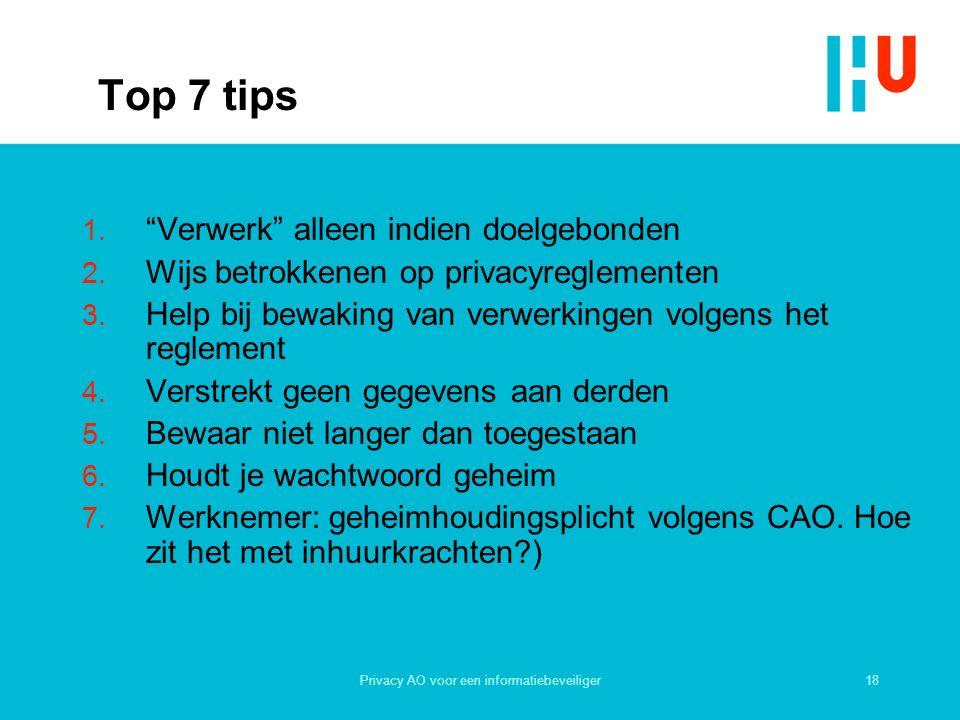 18Privacy AO voor een informatiebeveiliger Top 7 tips 1.