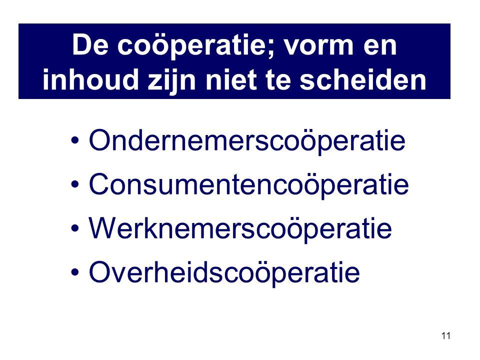 11 Ondernemerscoöperatie Consumentencoöperatie Werknemerscoöperatie Overheidscoöperatie De coöperatie; vorm en inhoud zijn niet te scheiden