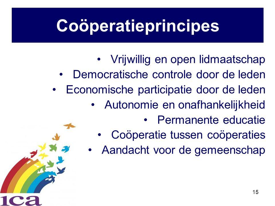 15 Vrijwillig en open lidmaatschap Democratische controle door de leden Economische participatie door de leden Autonomie en onafhankelijkheid Permanente educatie Coöperatie tussen coöperaties Aandacht voor de gemeenschap Coöperatieprincipes