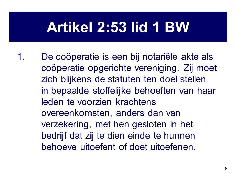 6 1. De coöperatie is een bij notariële akte als coöperatie opgerichte vereniging.