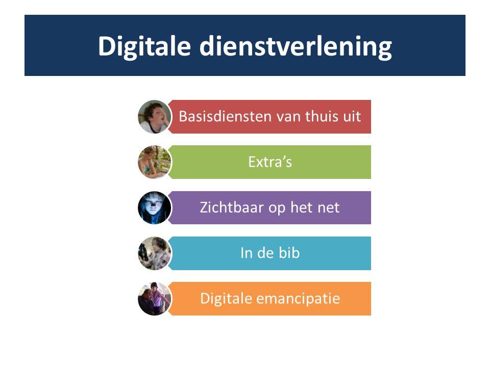 Digitale dienstverlening Basisdiensten van thuis uit Extra's Zichtbaar op het net In de bib Digitale emancipatie