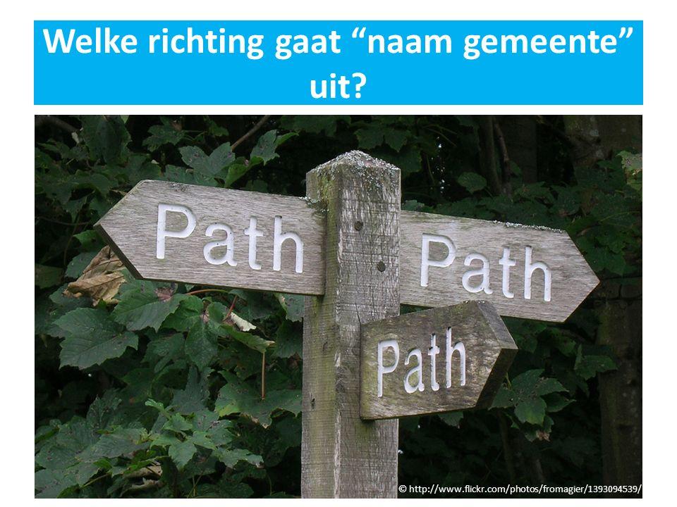 """Welke richting gaat """"naam gemeente"""" uit? © http://www.flickr.com/photos/fromagier/1393094539/"""