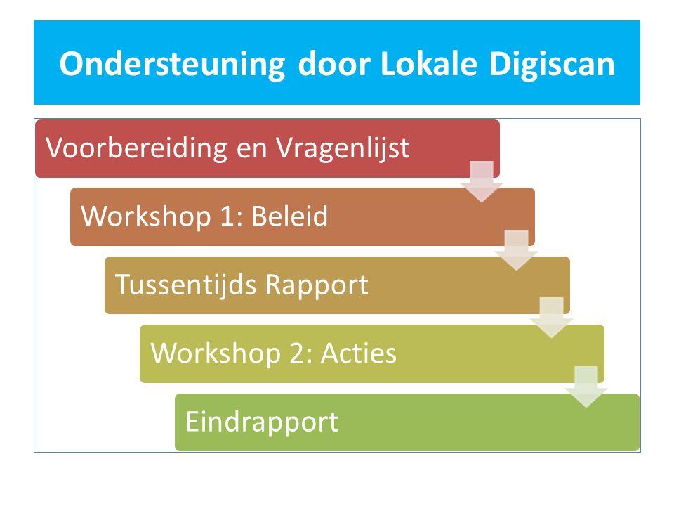 Ondersteuning door Lokale Digiscan Voorbereiding en VragenlijstWorkshop 1: BeleidTussentijds RapportWorkshop 2: ActiesEindrapport