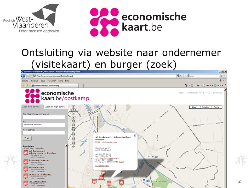 Ontsluiting via website naar ondernemer (visitekaart) en burger (zoek) 2