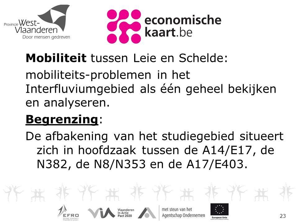 Mobiliteit tussen Leie en Schelde: mobiliteits-problemen in het Interfluviumgebied als één geheel bekijken en analyseren.