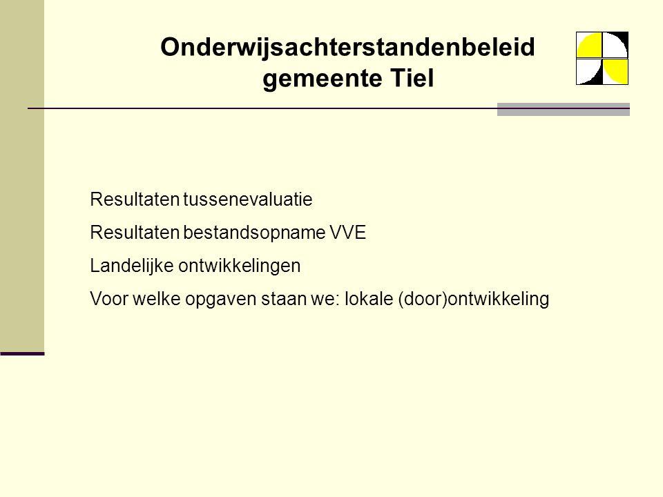 Onderwijsachterstandenbeleid gemeente Tiel Resultaten tussenevaluatie Resultaten bestandsopname VVE Landelijke ontwikkelingen Voor welke opgaven staan we: lokale (door)ontwikkeling