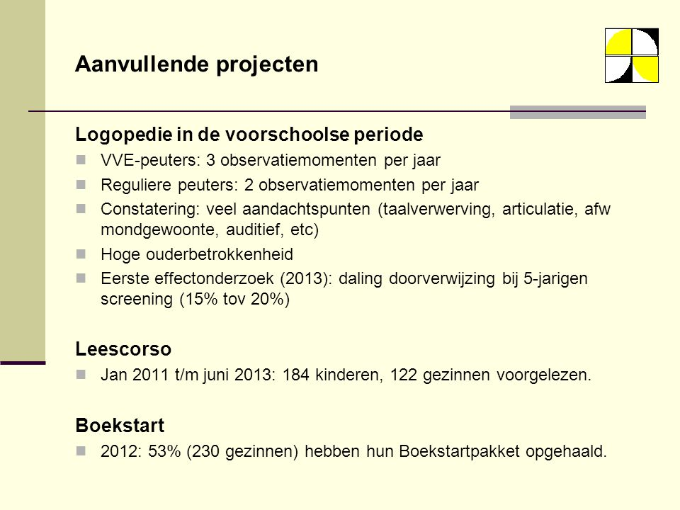 Aanvullende projecten Logopedie in de voorschoolse periode VVE-peuters: 3 observatiemomenten per jaar Reguliere peuters: 2 observatiemomenten per jaar Constatering: veel aandachtspunten (taalverwerving, articulatie, afw mondgewoonte, auditief, etc) Hoge ouderbetrokkenheid Eerste effectonderzoek (2013): daling doorverwijzing bij 5-jarigen screening (15% tov 20%) Leescorso Jan 2011 t/m juni 2013: 184 kinderen, 122 gezinnen voorgelezen.