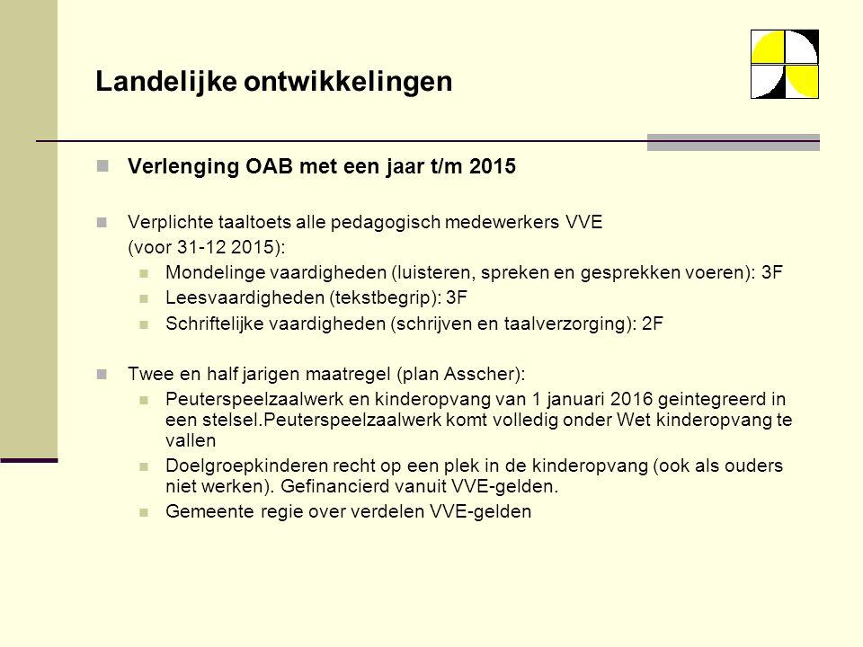 Landelijke ontwikkelingen Verlenging OAB met een jaar t/m 2015 Verplichte taaltoets alle pedagogisch medewerkers VVE (voor 31-12 2015): Mondelinge vaardigheden (luisteren, spreken en gesprekken voeren): 3F Leesvaardigheden (tekstbegrip): 3F Schriftelijke vaardigheden (schrijven en taalverzorging): 2F Twee en half jarigen maatregel (plan Asscher): Peuterspeelzaalwerk en kinderopvang van 1 januari 2016 geintegreerd in een stelsel.Peuterspeelzaalwerk komt volledig onder Wet kinderopvang te vallen Doelgroepkinderen recht op een plek in de kinderopvang (ook als ouders niet werken).