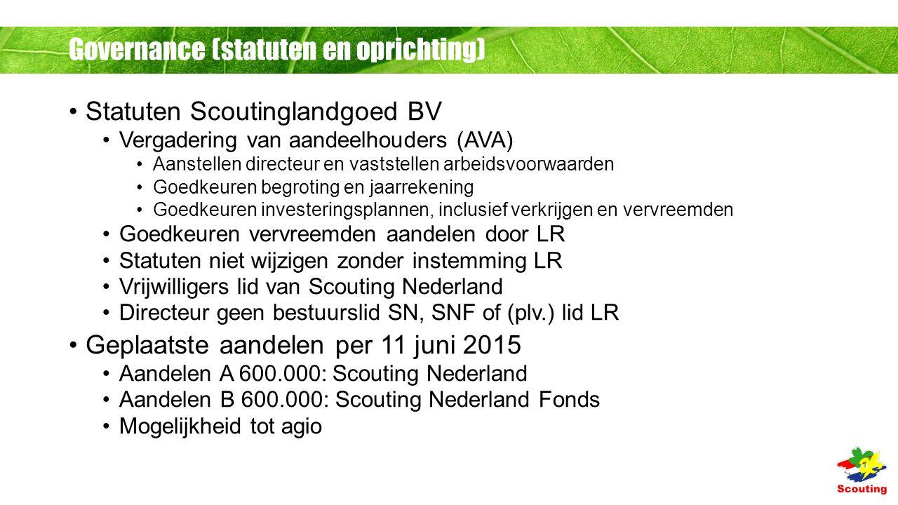 Governance (statuten en oprichting) Statuten Scoutinglandgoed BV Vergadering van aandeelhouders (AVA) Aanstellen directeur en vaststellen arbeidsvoorwaarden Goedkeuren begroting en jaarrekening Goedkeuren investeringsplannen, inclusief verkrijgen en vervreemden Goedkeuren vervreemden aandelen door LR Statuten niet wijzigen zonder instemming LR Vrijwilligers lid van Scouting Nederland Directeur geen bestuurslid SN, SNF of (plv.) lid LR Geplaatste aandelen per 11 juni 2015 Aandelen A 600.000: Scouting Nederland Aandelen B 600.000: Scouting Nederland Fonds Mogelijkheid tot agio