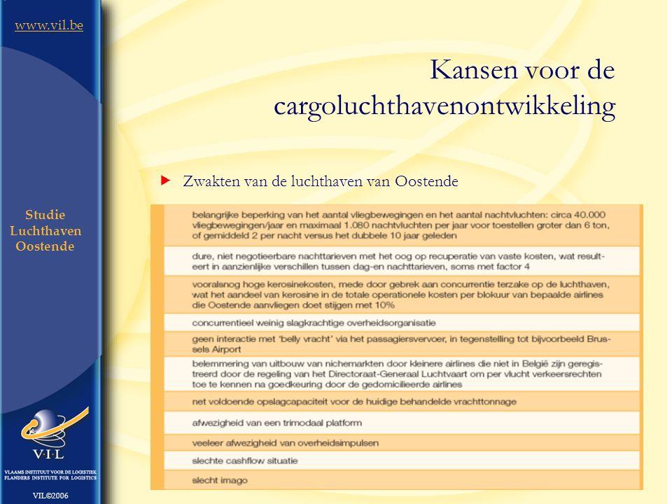 10 www.vil.be VIL©2006 Studie Luchthaven Oostende  Zwakten van de luchthaven van Oostende Kansen voor de cargoluchthavenontwikkeling