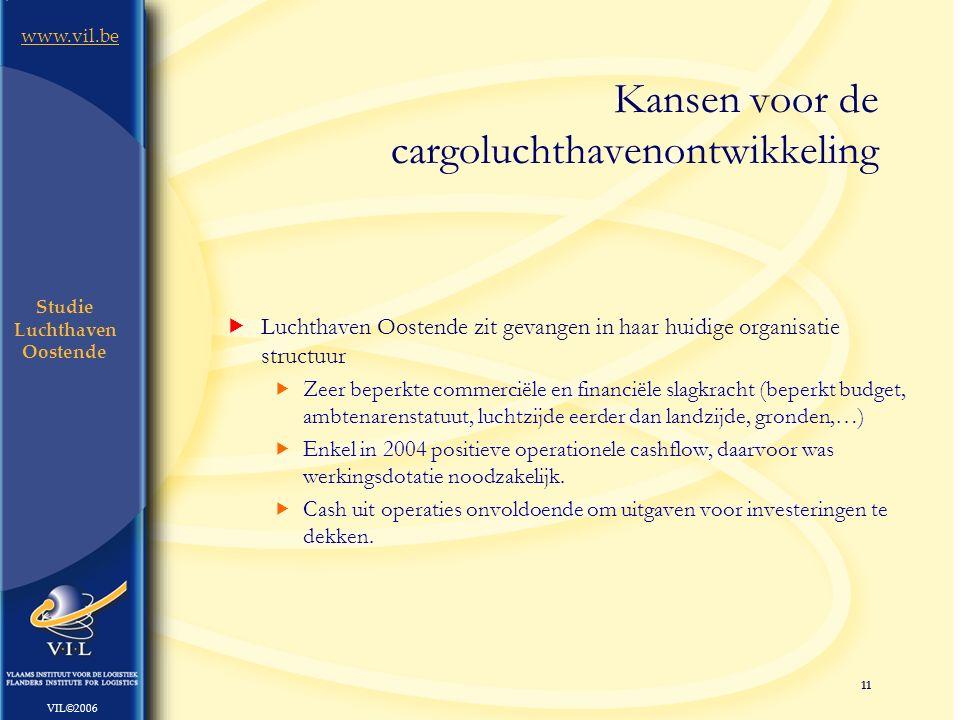 11 www.vil.be VIL©2006 Studie Luchthaven Oostende  Luchthaven Oostende zit gevangen in haar huidige organisatie structuur  Zeer beperkte commerciële en financiële slagkracht (beperkt budget, ambtenarenstatuut, luchtzijde eerder dan landzijde, gronden,…)  Enkel in 2004 positieve operationele cashflow, daarvoor was werkingsdotatie noodzakelijk.