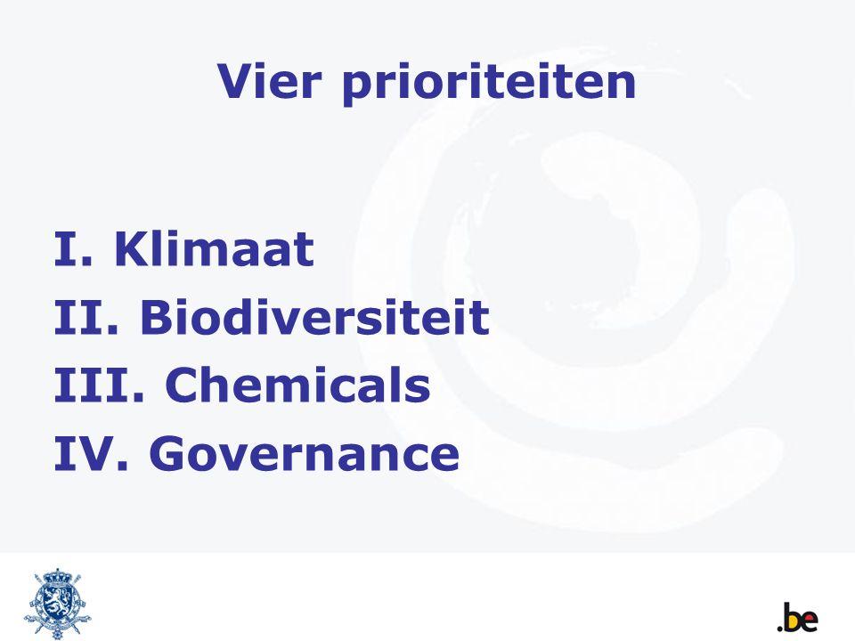 Vier prioriteiten I. Klimaat II. Biodiversiteit III. Chemicals IV. Governance