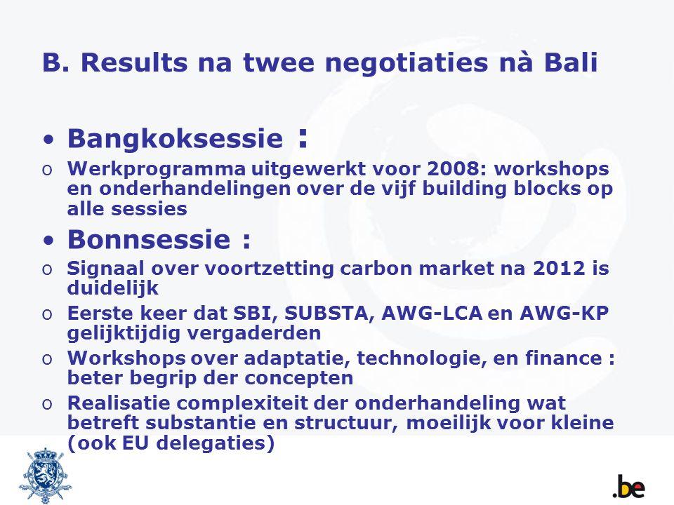 B. Results na twee negotiaties nà Bali Bangkoksessie : oWerkprogramma uitgewerkt voor 2008: workshops en onderhandelingen over de vijf building blocks