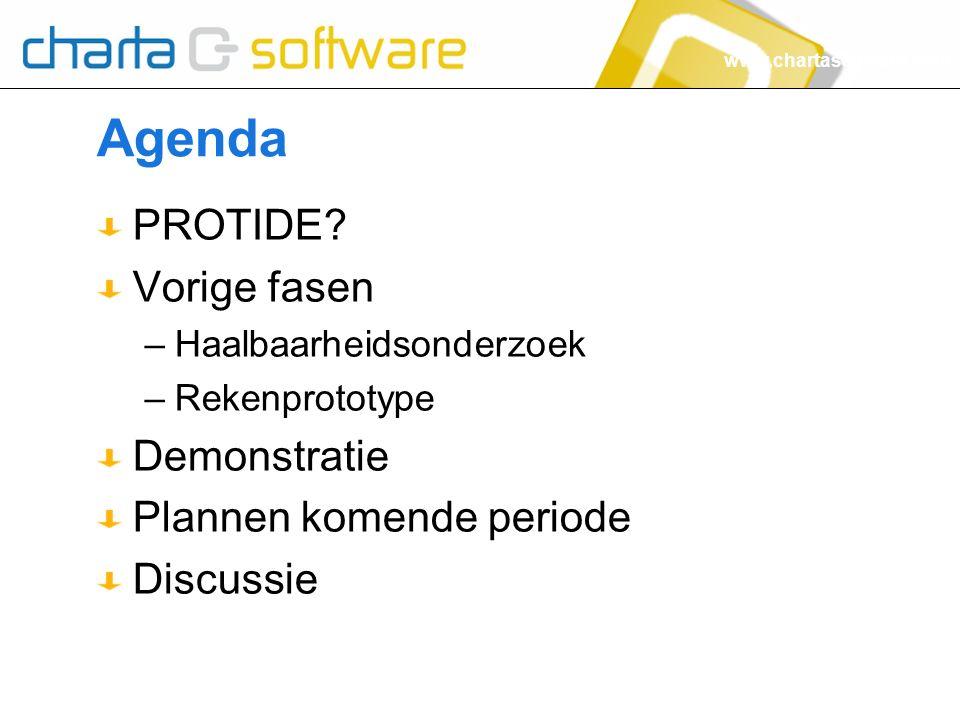 www.chartasoftware.com Agenda PROTIDE? Vorige fasen –Haalbaarheidsonderzoek –Rekenprototype Demonstratie Plannen komende periode Discussie