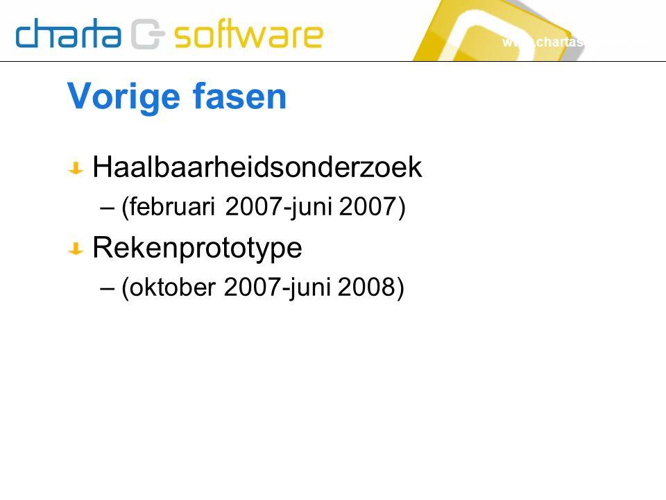 www.chartasoftware.com Vorige fasen Haalbaarheidsonderzoek –(februari 2007-juni 2007) Rekenprototype –(oktober 2007-juni 2008)