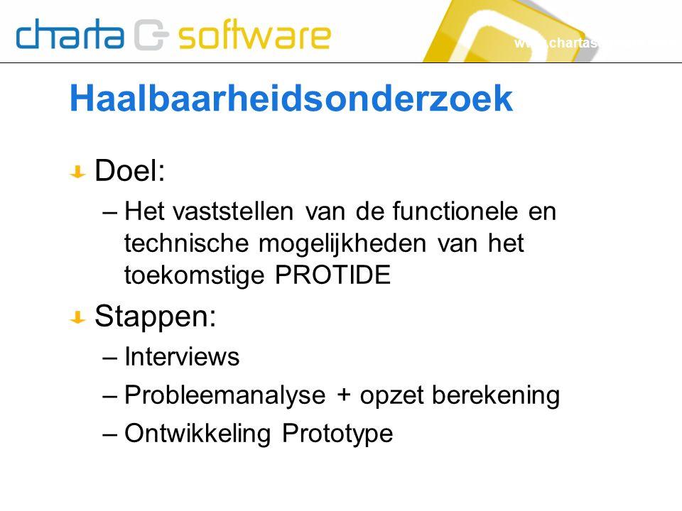 www.chartasoftware.com Haalbaarheidsonderzoek Doel: –Het vaststellen van de functionele en technische mogelijkheden van het toekomstige PROTIDE Stappe