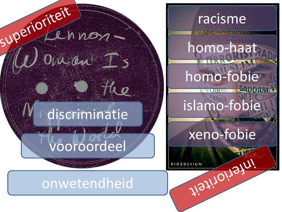 vooroordeel discriminatie onwetendheid racisme homo-haat homo-fobie islamo-fobie xeno-fobie superioriteit inferioriteit