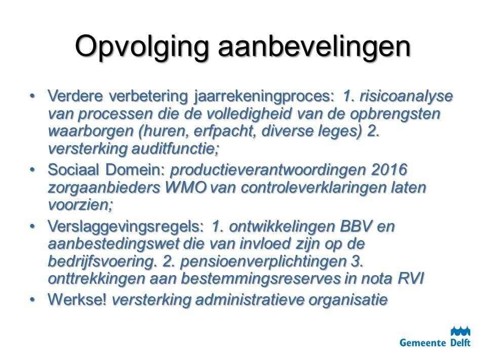 Opvolging aanbevelingen Verdere verbetering jaarrekeningproces: 1. risicoanalyse van processen die de volledigheid van de opbrengsten waarborgen (hure
