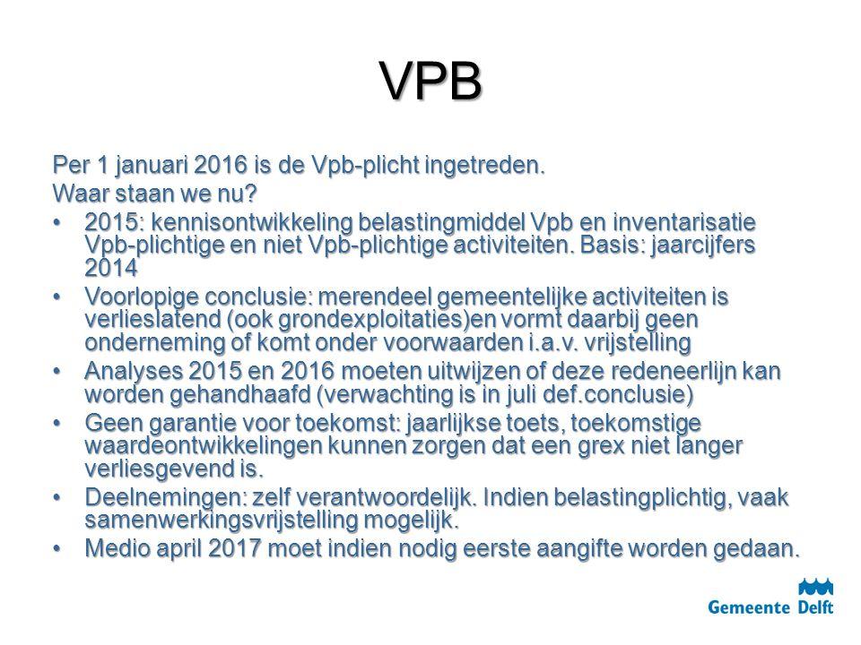 VPB Per 1 januari 2016 is de Vpb-plicht ingetreden. Waar staan we nu? 2015: kennisontwikkeling belastingmiddel Vpb en inventarisatie Vpb-plichtige en