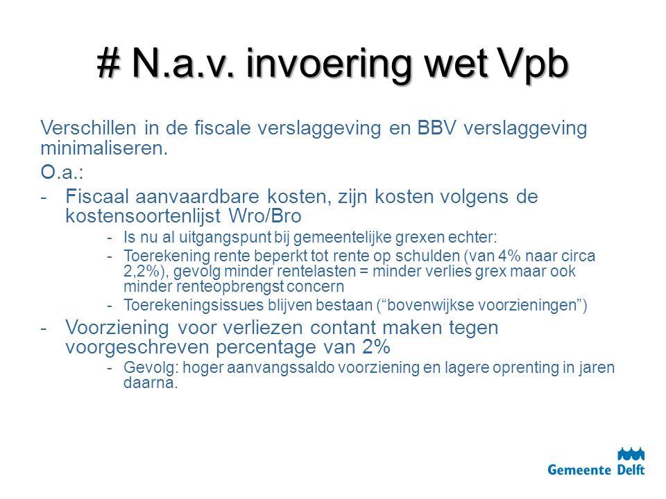 # N.a.v. invoering wet Vpb Verschillen in de fiscale verslaggeving en BBV verslaggeving minimaliseren. O.a.: - -Fiscaal aanvaardbare kosten, zijn kost