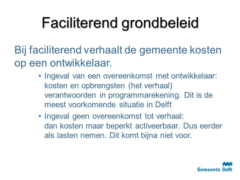 Faciliterend grondbeleid Bij faciliterend verhaalt de gemeente kosten op een ontwikkelaar. Ingeval van een overeenkomst met ontwikkelaar: kosten en op