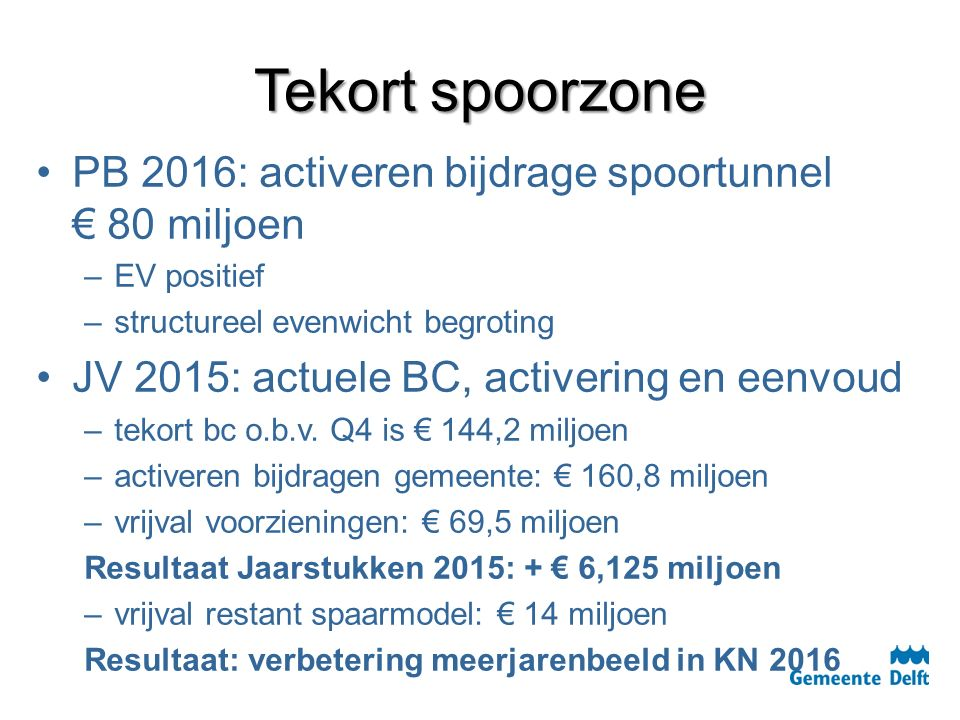 Tekort spoorzone PB 2016: activeren bijdrage spoortunnel € 80 miljoen – –EV positief – –structureel evenwicht begroting JV 2015: actuele BC, activering en eenvoud – –tekort bc o.b.v.