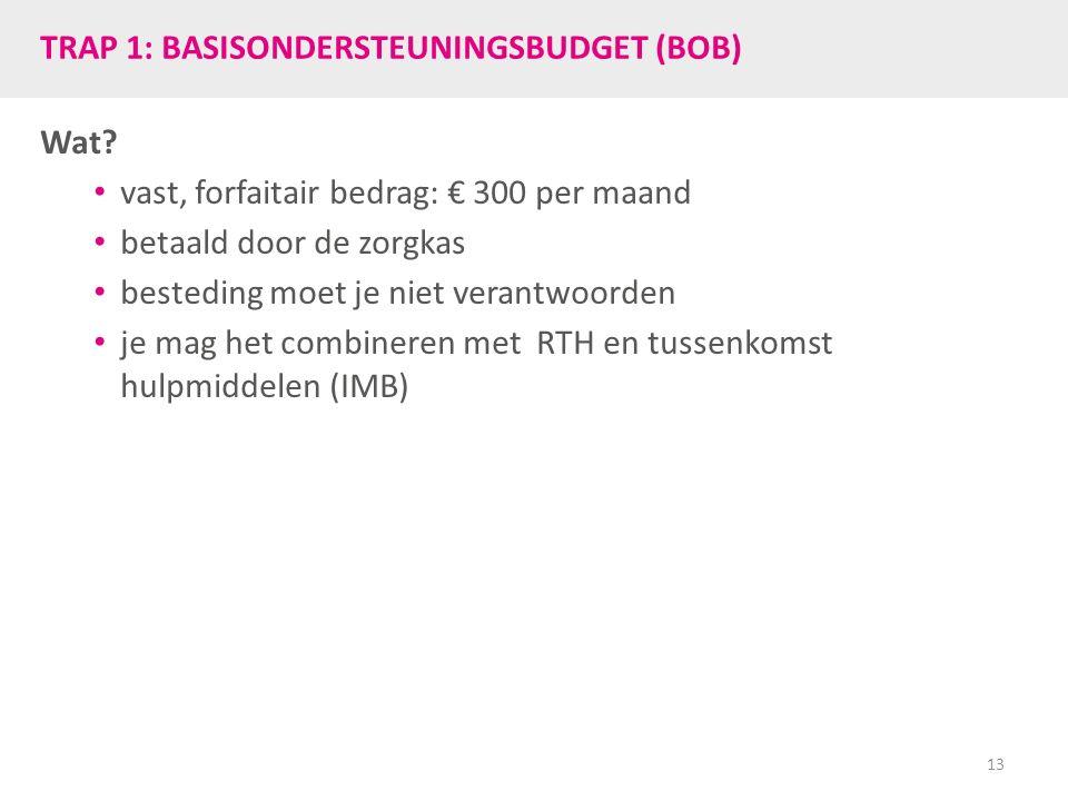 TRAP 1: BASISONDERSTEUNINGSBUDGET (BOB) Wat? vast, forfaitair bedrag: € 300 per maand betaald door de zorgkas besteding moet je niet verantwoorden je
