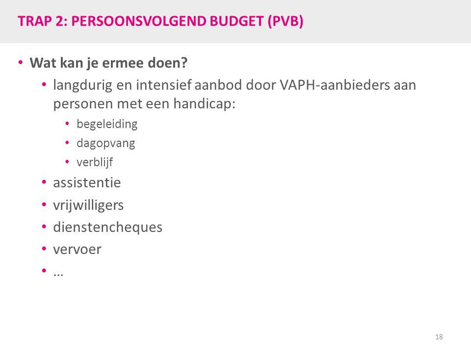 TRAP 2: PERSOONSVOLGEND BUDGET (PVB) Wat kan je ermee doen? langdurig en intensief aanbod door VAPH-aanbieders aan personen met een handicap: begeleid