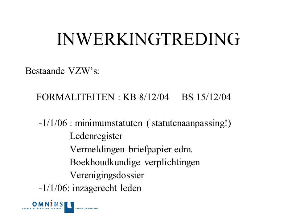 INWERKINGTREDING Bestaande VZW's: FORMALITEITEN : KB 8/12/04 BS 15/12/04 -1/1/06 : minimumstatuten ( statutenaanpassing!) Ledenregister Vermeldingen briefpapier edm.