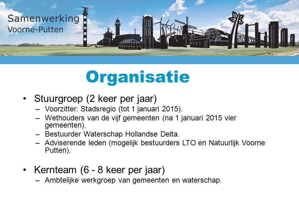 Organisatie Stuurgroep (2 keer per jaar) –Voorzitter: Stadsregio (tot 1 januari 2015).