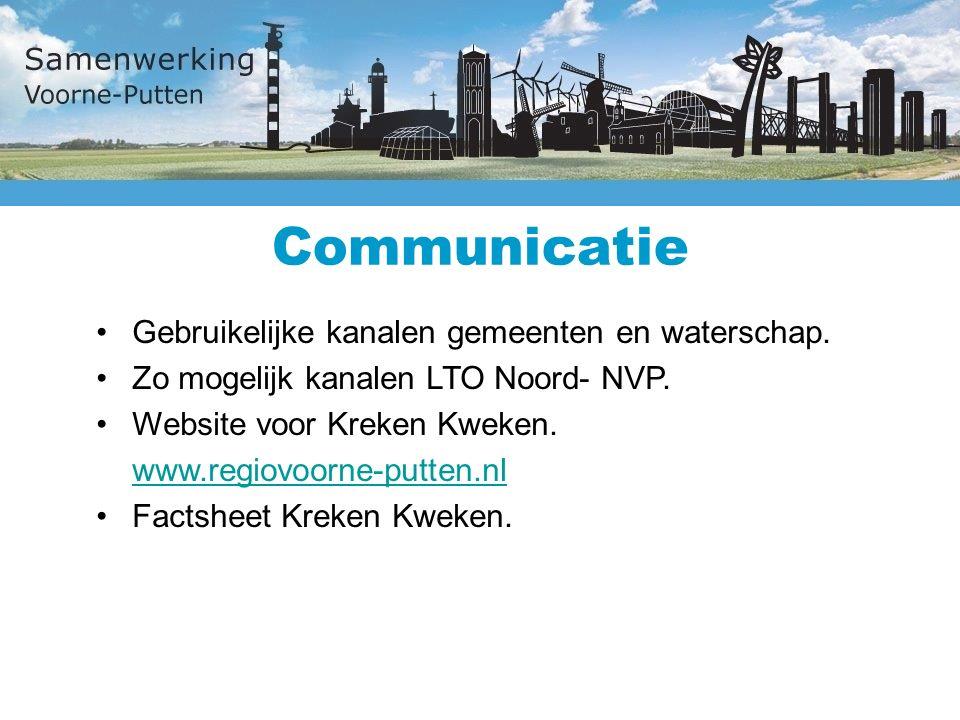Communicatie Gebruikelijke kanalen gemeenten en waterschap.