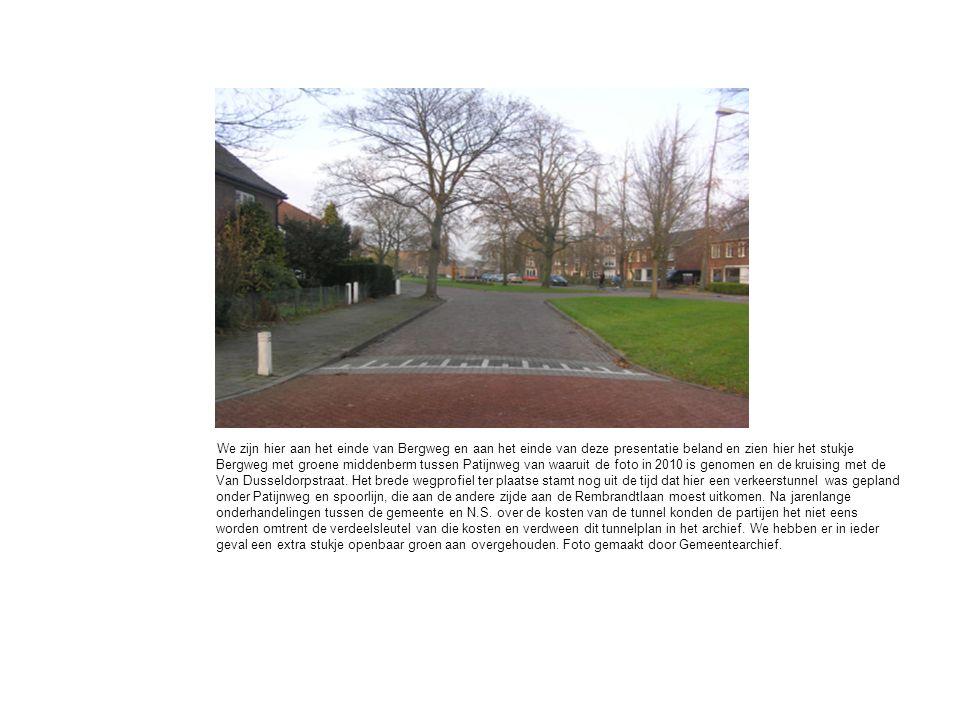 We zijn hier aan het einde van Bergweg en aan het einde van deze presentatie beland en zien hier het stukje Bergweg met groene middenberm tussen Patijnweg van waaruit de foto in 2010 is genomen en de kruising met de Van Dusseldorpstraat.